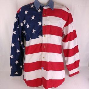 Roper Americana Mens 100% Cotton USA Flag L/S